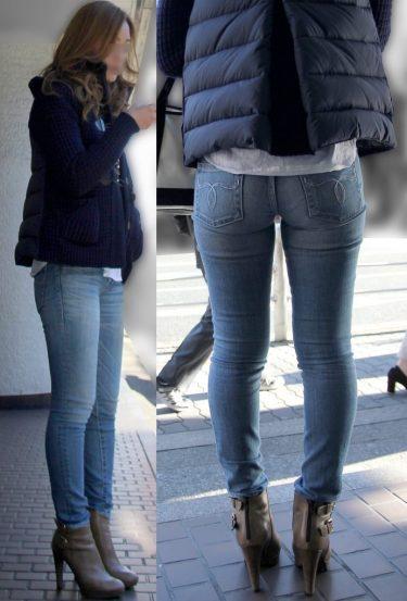 【ジーンズ女子】スラッとした脚長長身キャバ嬢のパツパツムチムチスキニーデニム尻